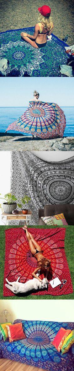 $14.26  Bohemian Style Thin Chiffon Beach Yoga Towel Mandala Rectangle Bed Sheet Tapestry