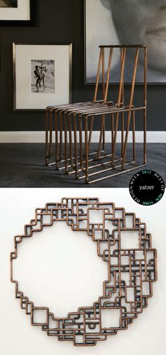 Copper pipe furniture and art for a man cave. Sweet .
