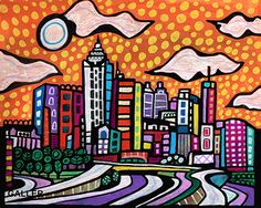 Atlanta Skyline Art Print Poster of Painting by Heather Galler City (HG140)