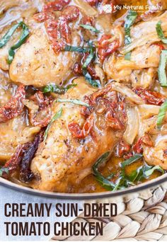 This is a Creamy healthy sun dried tomato chicken Thighs Recipe. The chicken is tender and falls off the bones and the tomatoes add so much flavor.