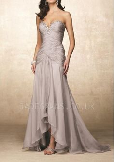 Silver Sweetheart Prom Dresses With Crystals - 6102020 - Long Evening Dresses