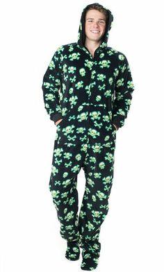 PajamaCity Dinosaur Print Polar Fleece Footed Pajamas with Drop ...