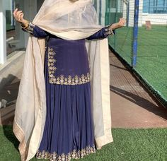 Designer Sharara Suits and Dresses With Price. A sharara is a pair of loose pleated or flared pants that look like a skirt or lehenga. Pakistani Fashion Casual, Pakistani Dress Design, Pakistani Outfits, Indian Fashion, Punjabi Fashion, Punjabi Suits Designer Boutique, Indian Designer Suits, Designer Kurtis, Dress Indian Style
