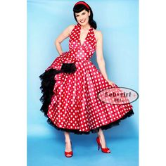Broad Minded Clothing - Lookie Lookie Here Comes Cookie Polka Dotted Halter Swing Pin Up Girl Dress - Photo