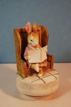 """Schmid """"Gentlemen in Waiting"""" Beatrix Potter Bunny Music Box"""