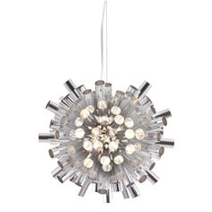 """Explode Hanging Lamp - Let the burst of aluminum engulf you in all its luminescent glory. The height is fully adjustable up to 76"""" and the ceiling plate measures 5"""" in diameter. $339"""