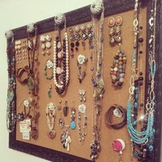 Jewelry board! Push stud earrings, pin bracelets, hang necklaces off knobs.