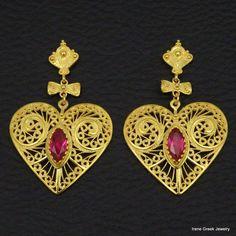 RUBY CZ HEART FILIGREE STYLE 925 STERLING SILVER 22K GOLD PLATED GREEK EARRINGS #IreneGreekJewelry #DropDangle
