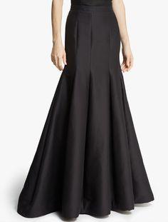 Halston Silk Faille Structured Skirt in Black