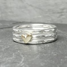 Little Sweetheart stacking ring set  with 9ct or by BreigeKing