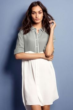 ff6cc034bdb59 Buy Grey Cream Tipped Shirt Dress from the Next UK online shop