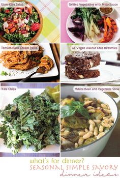 whole foods | plant based | dinner ideas   - glow kale salad, grilled vegetables with miso sauce, tomato basil cream penne, GF vegan walnut chip brownies, kale chips, and white bean & vegetable stew