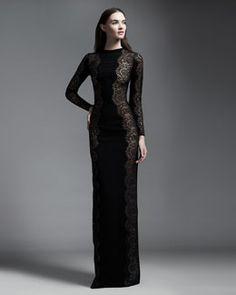 Stella McCartney Scallop-Panel Lace Long-Sleeve Gown, Black
