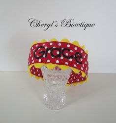 Red Polka Dot Monogrammed Headband by Cheryl's Bowtique /