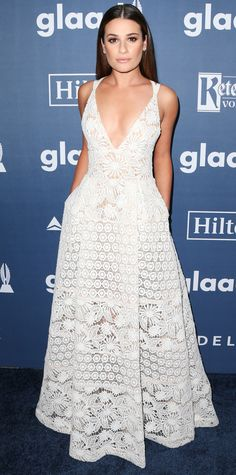 Lea Michele was quite angelic at the 27th Annual GLAAD Media Awards, gracing the red carpet in a pretty ivory macramé lace Elie Saab gown with a plunging neckline.