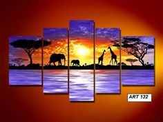 oil painting on sale at reasonable prices, buy hand-painted oil wall art Giraffe savanna elephants decoration Landscape Framed canvas oil painting mixorde from mobile site on Aliexpress Now! Multiple Canvas Paintings, Multi Canvas Painting, Multi Canvas Art, Oil Painting Abstract, Canvas Wall Art, Framed Canvas, Canvas 5, Watercolor Artists, Painting Art