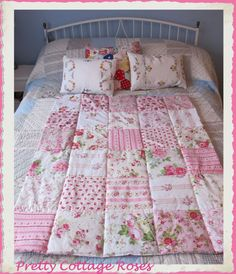 Pink to make the boys wink ~ Baby girls eiderdown patchwork quilt Baby Girls, Blankets, My Design, Sewing Projects, Quilting, Bed, Fabric, Room, Pink