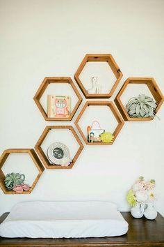 I love these geometric shelves