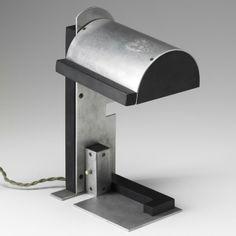 Jacques le Chevallier and René Koechlin; Aluminum and Ebonite Table Lamp, c1928.
