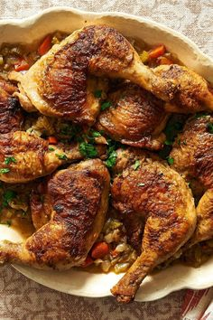 "NYT Cooking: Here is a pleasant, delicious family meal adapted from the California chef Cal Peternell's excellent home-cooking manifesto, ""Twelve Recipes,"" published in 2014 by HarperCollins. There are two steps to the process, which as Mr. Peternell points out can lead to endless improvisation. First, season the chicken and brown it well in a pan. Salt, pepper and flour are what's called%..."