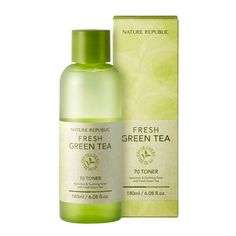 NATURE REPUBLIC Fresh Green Tea 70 Toner 180ml         Features           Formulated witn Green tea leaf extract.     Intensively provides a surge of moisture and nutrition for skin.     Refreshes and clarifies sk 14.43