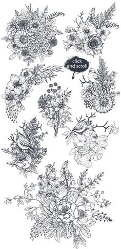 Flower Drawing Hand drawn flowers and bouquets by Fancy art on Art Floral, Floral Drawing, Drawing Flowers, Painting Flowers, How To Draw Flowers, Flower Pattern Drawing, Flower Line Drawings, Flower Patterns, Flower Sketches