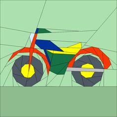 """Motor Bike - 12""""(30cm) paper piecing patterns quiltartdesigs.blogspot.com"""