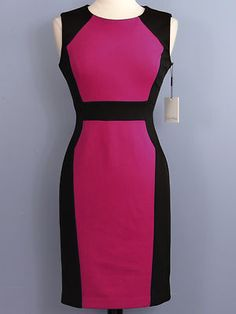 Calvin Klein Color Block Dress, love this pattern, it's slimming, classy & fun. I would pair it with a bold pink pump & matching purse maybe even a cute black bolero with big old buttons to really give my outfit some character.