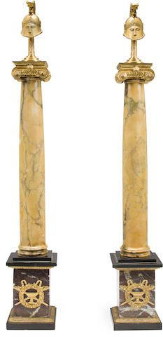 A pair of Continental Neoclassical style gilt bronze mounted Siena marble columns late 19th century