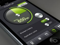 Beautiful iOS layout found on Dribbble. Love the black and green contrast!