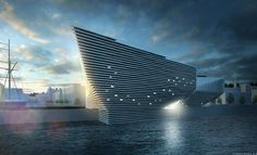 Designed by Japanese architect Kengo Kuma, the planned V&A Dundee museum will be the centrepiece of the city's waterfront redevelopment. Rendering courtesy of V&A Dundee Steven Holl, Architecture Design, Beautiful Architecture, Innovative Architecture, Kengo Kuma, Renzo Piano, Frank Gehry, Frank Lloyd Wright, Zaha Hadid