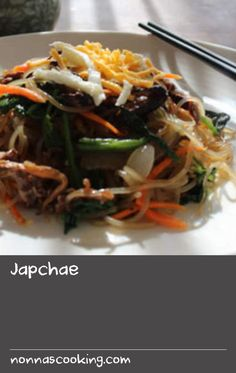 Japchae | Japchae is a dish of stir-fried noodles with vegetables and meat. It's one of the most popular dishes in Korea and can be served hot or cold. All the different components of this colourful and tasty dish can be assembled at the last minute. With sweet potato noodles glistening with sesame oil, sugar and soy, topped with vegetables and meat, japchae is great for entertaining or a special occasion.