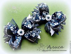 """Купить Бантики для волос """" Синие"""" - тёмно-синий, для девочки, для девочек, бантики для волос"""
