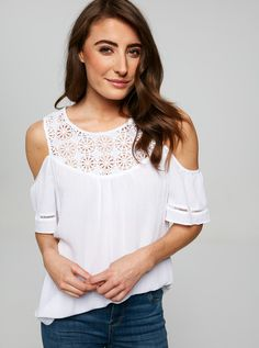 Image for Stacey Lace Yoke Top from Just Jeans