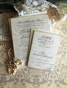 Vintage Lace & Sheet Music Wedding Invitation by AVintageObsession, $85.00