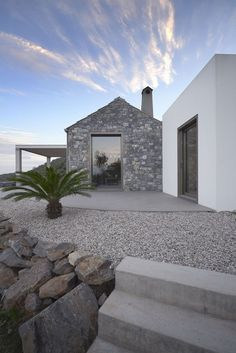 Villa Melana is a residential project designed by Studio 2 Pi Architect & 02 Architecture & Mech. Engineering in It is located in Pera Melana, Greece Villa Design, House Designs Ireland, Greek House, Stone Houses, Exterior Design, Future House, Architecture Design, Greece, Homes