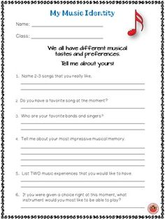 Back to School Music Student Information Sheets! Get to know the students in your music class on the first day!  ♫ CLICK through to preview or save for later!  ♫