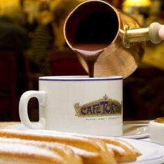 Chocolate com churros - Café Tortoni, Buenos Aires Argentina's Oldest Cafe