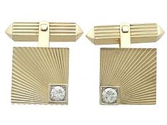 An impressive pair of vintage Belgian 0.52 carat diamond and 18 carat gold cufflinks; part of our diverse diamond jewellery and estate jewelry collections