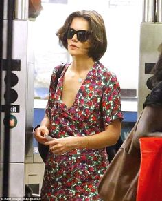 740fe2b064 Flower power: Katie Holmes wore a floral print dress as she stepped out for  the