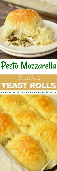 These Pesto Mozzarella Stuffed Dinner Rolls are not only great for a holiday recipe, they are fantastic year round! You can't go wrong with fresh mozzarella and flavorful basil pesto tucked inside these super soft yeast rolls! AD #wonkywonderful #redstaryeast @redstaryeast