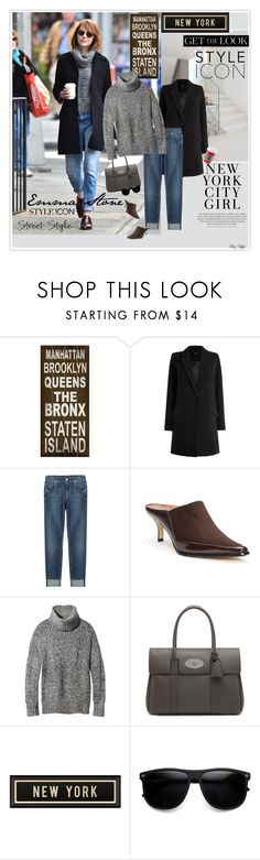 """""""Emma Stone, New York City Girl"""" by mcheffer ❤ liked on Polyvore featuring ArteHouse, Oasis, 7 For All Mankind, Donald J Pliner, Theory, Mulberry, Spicher and Company, H&M, ZeroUV and GetTheLook"""