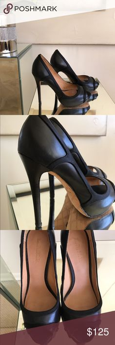 LAMB by Gwen Stefani High Heel Peep Toe Pumps  Black high heel peep toe pumps with suede detailing. Gently loved and in good condition. Made in Italy. Size EU 38/ US 8. Leather sole. Heel measures 4.5 inches. Please feel free to ask questions. Thank you!  LAMB by Gwen Stefani Shoes Heels