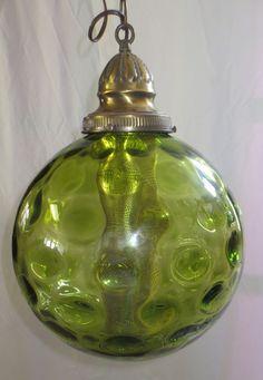 Vtg Mid Century Modern Green Optic Glass Swag Lamp Hanging Light Retro 60s  70s