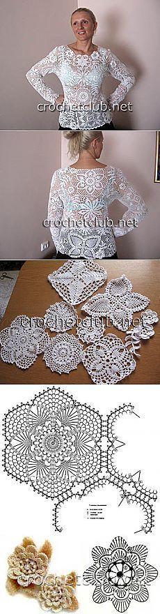 Белый пуловер-ирландское кружево - Вязание Крючком. Блог Настика