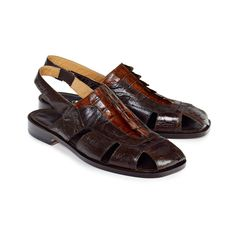 Mauri Men's Ostrich & Hornback Alligator Dark Brown Sandals 1867 Material: Ostrich / Hornback Alligator Hardware: None Color: Brown Outer Sole: Leather Comes with original box and dustbag Made In Italy Sandals 2014, Shoes Sandals, Dress Shoes, Brown Sandals, Leather Sandals, Buy Shoes, Shoes Men, Shoe Wardrobe, Stylish Sandals
