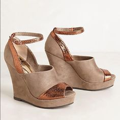 "Sold! Anthropologie Joni Wedges by BC Footwear Love the vintage-inspired glamour of the supple kid suede, metallic-kissed pair by BC Footwear. Adjustable buckle, synthetic insole, rubber sole, 3"" wedge. Pic shows spots on shoe. Comes with original box. BC Footwear Shoes Wedges"