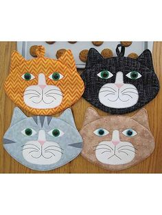 Give your kitchen decor some added fun and color with these adorable hot pads! This pattern is great for stitching up a gift for the cat lover in your life or just for making something special for yourself. The pattern includes all the pattern pieces...