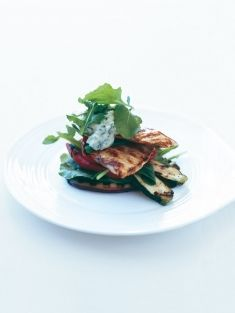 grilled chicken and vegetable stacks