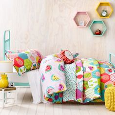Bright, colourful and perfect for summer, the Fruit Salad bedlinen range from Adairs Kids will be just the thing to brighten up your little ones bedroom. Featuring a gorgeous multi coloured watermelon print on the front and a range of delicious pineapples on the reverse what's not to love about this fun, fruity design. For a complete look check out the Fruit Salad cushion range from Adairs Kids.